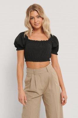 NA-KD Trend NA-KD Trend Cropped Top Met Ruches - Black