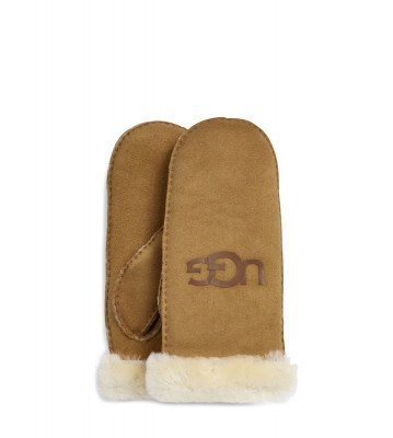 UGG UGG Sheepskin Logo Bruin Dames Handschoenen