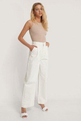 Annais x NA-KD Annais x NA-KD Rechte Jeans - White