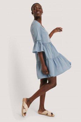 NA-KD Boho NA-KD Boho V-neck Ruffle Dress - Blue