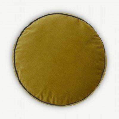 MADE.COM Julius rond fluwelen kussen, 45 cm diameter, antiek goud