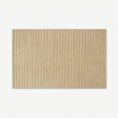 MADE.COM Naylor wollen vloerkleed, groot, 160 x 230cm, ecru getreept