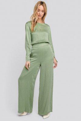 NA-KD Wide Leg High Waist Pants - Green