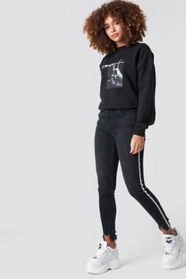 NA-KD High Waist Skinny Side Details Jeans - Black