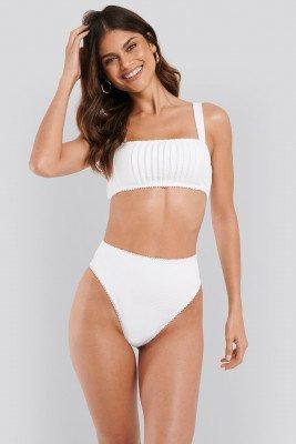 NA-KD Swimwear NA-KD Swimwear Structured Lace Edge High Waist Bikini Panty - White