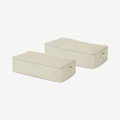 MADE.COM Ponting set van 2 stoffen opbergkoffers voor onder het bed, creme en grijs
