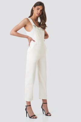 NA-KD Trend Denim Dungaree - White
