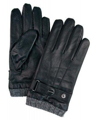 Profuomo Profuomo heren zwarte leren handschoenen met gebreide manchet