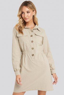 Trendyol Mini Buttoned Shirt Dress - Beige