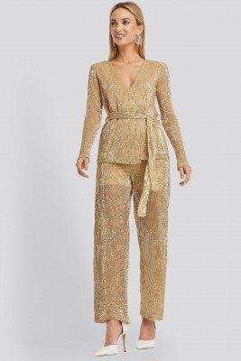 NA-KD Party Sequin Straight Pant - Gold
