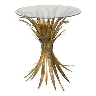 Firawonen.nl PTMD kahee goud tafel ijzeren bladeren glazen top
