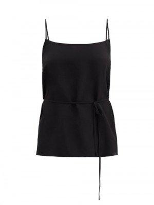 Matchesfashion Raey - Tie-waist Silk Crepe De Chine Cami Top - Womens - Black