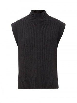 Matchesfashion Cefinn - Janice Roll-neck Sleeveless Wool-blend Sweater - Womens - Black