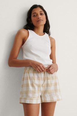 NA-KD Lingerie NA-KD Lingerie Flannel Pyjamas Shorts - Beige