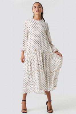 NA-KD Boho Dotted Ruffle Chiffon Dress - White