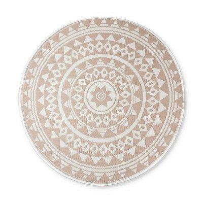 Xenos Buitenkleed mandala - beige/wit - 150 cm