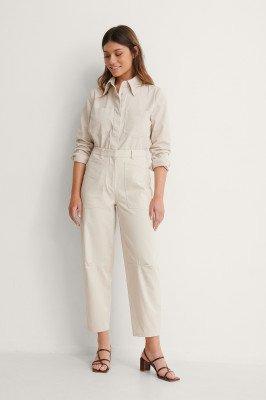 NA-KD Reborn NA-KD Reborn Soft Cotton Cargo Pants - Beige