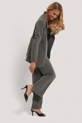 NA-KD Classic NA-KD Classic Pantalon Met Split - Grey