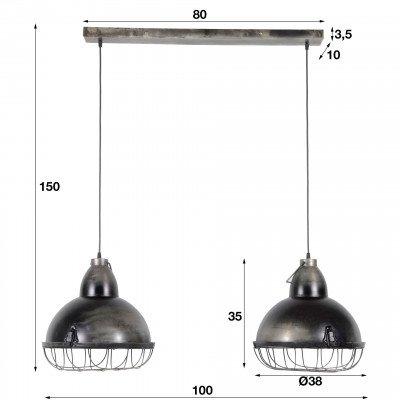 LifestyleFurn Industriële Dubbele Hanglamp 'Stephen', 2 x 38cm