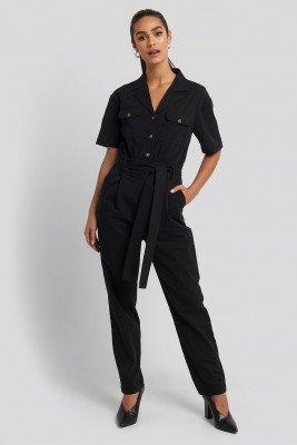 NA-KD NA-KD Belted Cargo Short Sleeve Jumpsuit - Black