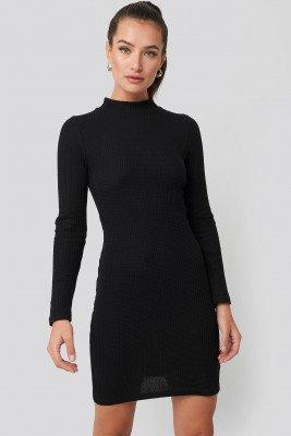 Trendyol Trendyol Sheer Neck Knitted Mini Dress - Black