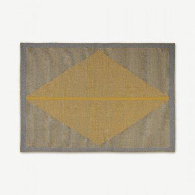 MADE.COM Camden vloerkleed 140 x 200cm, grijs en mosterdgeel