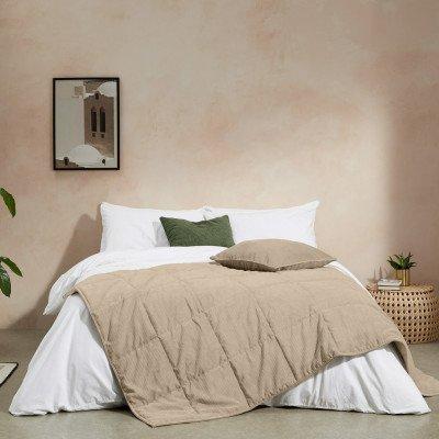 MADE.COM Selky bedsprei, 125 x 225 cm, zacht taupe