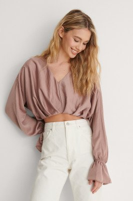 NA-KD Party NA-KD Party Zwierige Cropped Blouse - Pink