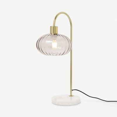 MADE.COM Tilbury tafellamp, opaalroze en antiekmessing