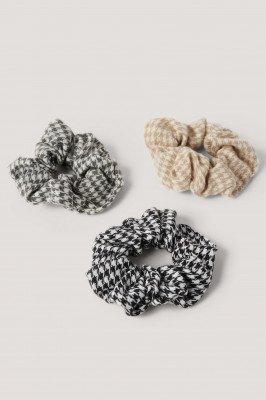 NA-KD Accessories 3-Pack Pied-De-Poule Scrunchies - Multicolor