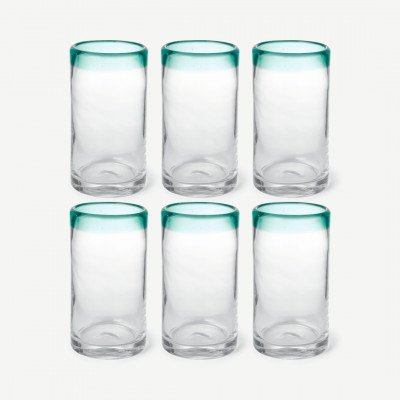 MADE.COM Kazan set van 6 longdrinkglazen, groen en doorzichtig