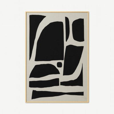 MADE.COM Dan Hobday, 'Monochrome Abstract', ingelijste print met messing afwerking, A1