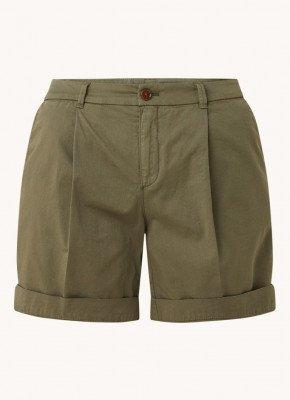 Boss BOSS Taggie mid waist straight fit korte broek met steekzakken