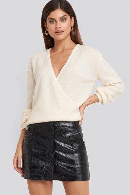 NA-KD Trend Embossed Croco Pu Mini Skirt - Black