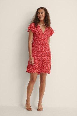 NA-KD NA-KD Gerecycleerd Zwierige Mini-jurk - Red