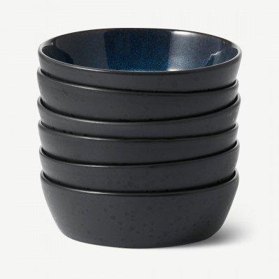 MADE.COM Bitz set van 6 soepkommen, zwart en nachtblauw