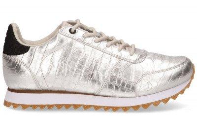 Woden Woden Ydun Croco Shiny Zilver Damessneakers