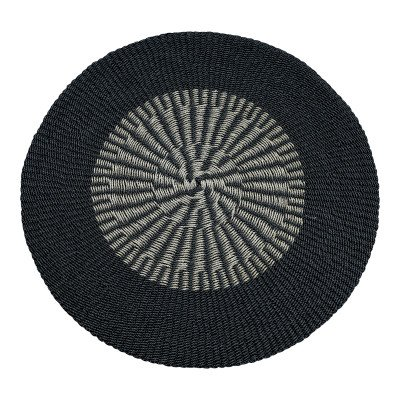 Ptmd raffia geweven tapijt zwart naturel rond mat