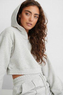 Jasmin Azizam x NA-KD Jasmin Azizam x NA-KD Hoodie Met Ritsdetail - Grey