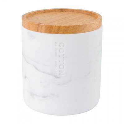Xenos Opbergpotje marmer - wit - 11 cm hoog