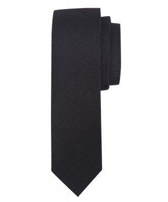 Profuomo Profuomo heren zwarte oxford smalle zijden stropdas