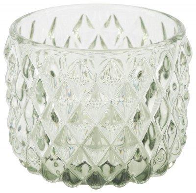 HEMA Waxinelichthouder Ø6.5x5.5 - Glas Groen (groen)