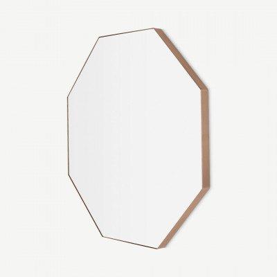 MADE.COM Arles 8-hoekige spiegel, 80 x 80 cm, geborsteld rosegoud
