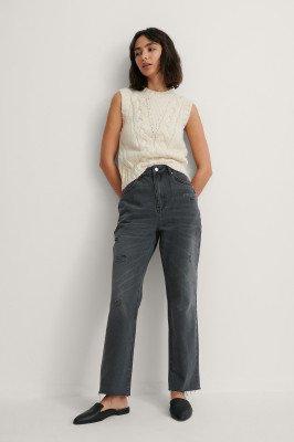 NA-KD NA-KD Gescheurde Rechte Jeans - Grey