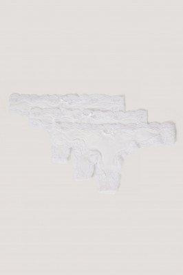 NA-KD Lingerie NA-KD Lingerie String Met Micro Kant Rand - 3-Pak - White