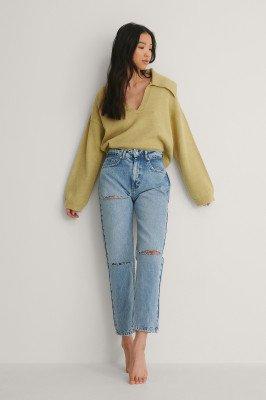 NA-KD Trend NA-KD Trend Mom Jeans Met Uitgesneden Achterkant - Blue