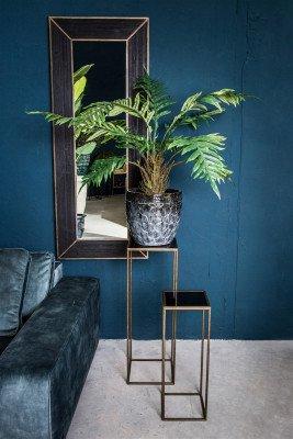 Firawonen.nl PTMD rolf zwart spiegel van hout met metalen lijst