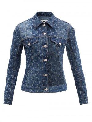 Matchesfashion Marine Serre - Crescent Moon-print Upcycled-denim Jacket - Womens - Denim