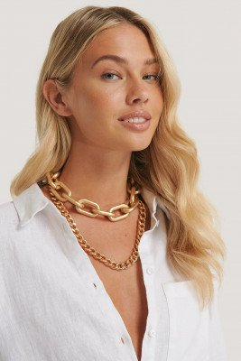 NA-KD Accessories Double Pack Oversize Chain Necklaces - Gold
