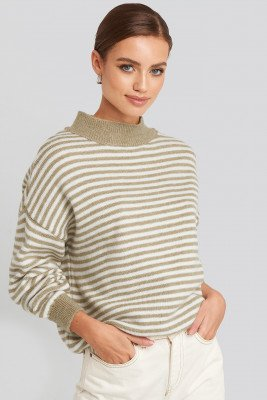 NA-KD NA-KD Striped Balloon Sleeve Knitted Sweater - Beige